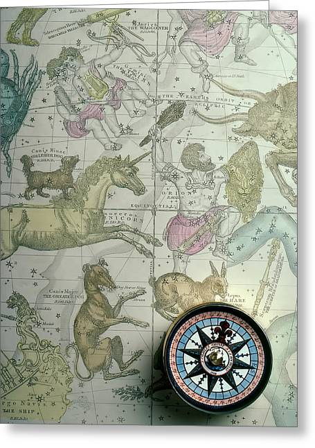Star Chart Greeting Cards - Star Map And Compass Greeting Card by Garry Gay