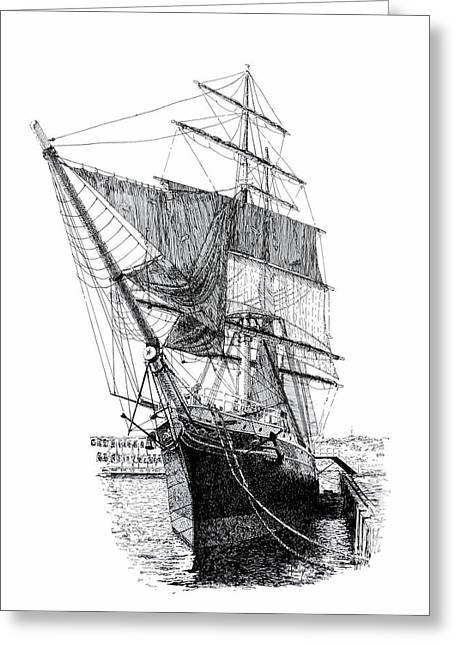 Tall Ships Drawings Greeting Cards - Star of India Greeting Card by Douglas Hawks