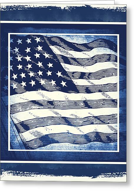 Patriotism Mixed Media Greeting Cards - Star Spangled Banner Blue Greeting Card by Angelina Vick