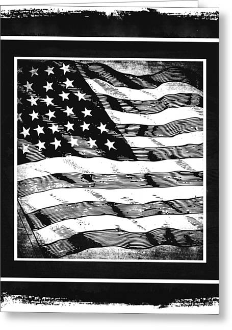 Patriotism Mixed Media Greeting Cards - Star Spangled Banner BW Greeting Card by Angelina Vick