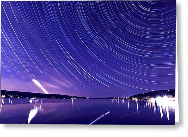 Ithaca Greeting Cards - Star trail on Cayuga Lake Ithaca New York Greeting Card by Paul Ge