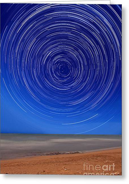 Rotate Greeting Cards - Star Trails Around The South Celestial Greeting Card by Luis Argerich