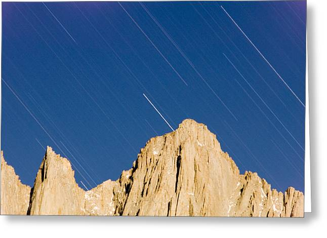 Mount Whitney Greeting Cards - Star Trails Over Mount Whitney Greeting Card by Rich Reid