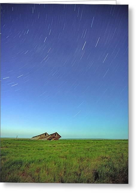Startrails Greeting Cards - Star Trails Over Old Barns, Saskatchewan Greeting Card by Robert Postma