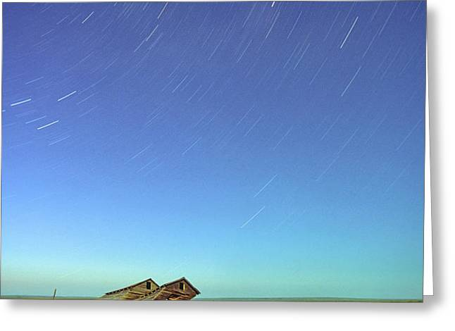 Star Trails Over Old Barns, Saskatchewan Greeting Card by Robert Postma