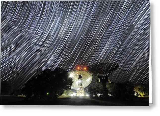 Moonlit Night Greeting Cards - Star Trails Over Parkes Observatory Greeting Card by Alex Cherney, Terrastro.com