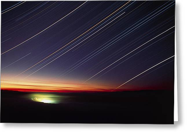 Charlotte Photographs Greeting Cards - Star Trails Over Queen Charlotte City, Canada Greeting Card by David Nunuk