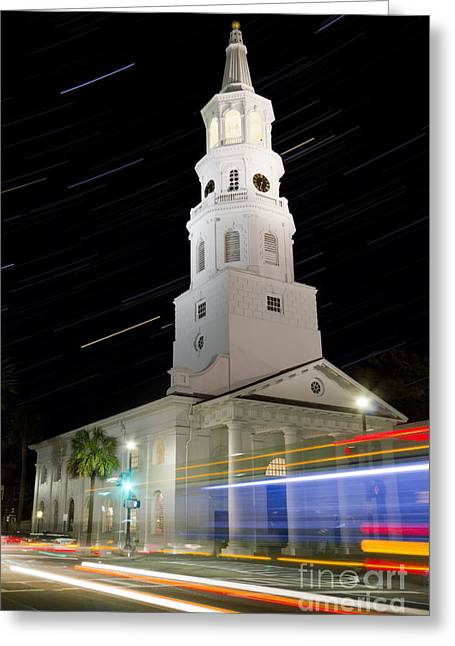 Stars Trail Greeting Cards - Star Trails over St Michaels Church Charleston SC Greeting Card by Dustin K Ryan