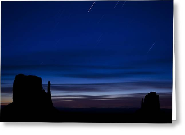 Stars Trail Greeting Cards - Star Trails over the West Greeting Card by Andrew Soundarajan