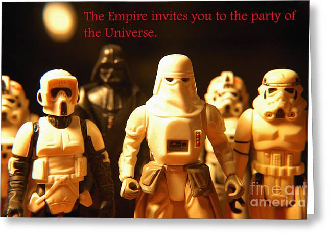 Party Invite Photographs Greeting Cards - Star Wars Gang 2 Greeting Card by Micah May