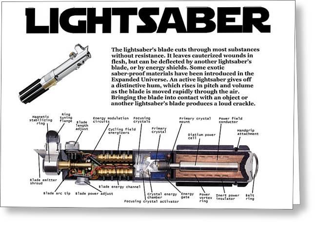 Movie Prop Digital Greeting Cards - Star Wars Lightsabre Diagram Greeting Card by Paul Van Scott