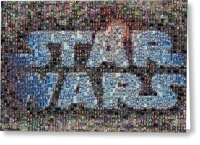 Montage Greeting Cards - Star Wars Posters Mosaic Greeting Card by Paul Van Scott