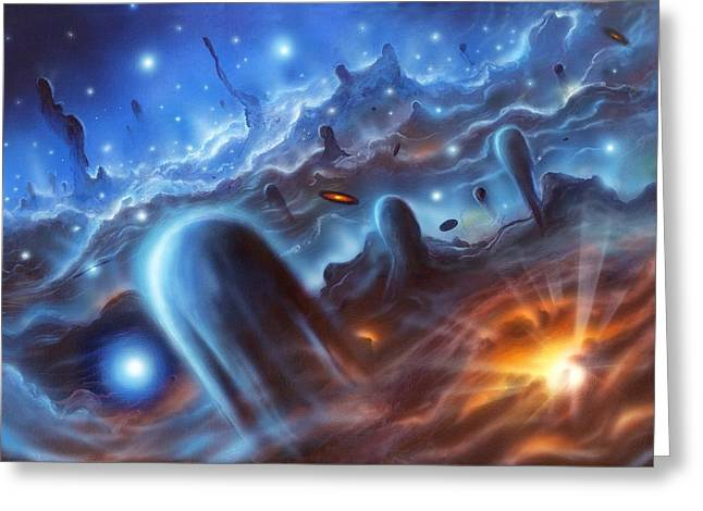 Star Nursery Greeting Cards - Starbirth Region, Artwork Greeting Card by Richard Bizley