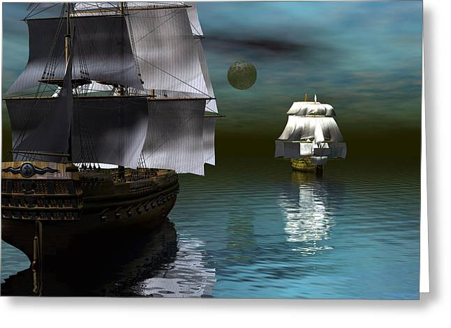 Starboard Guns Make Ready Greeting Card by Claude McCoy