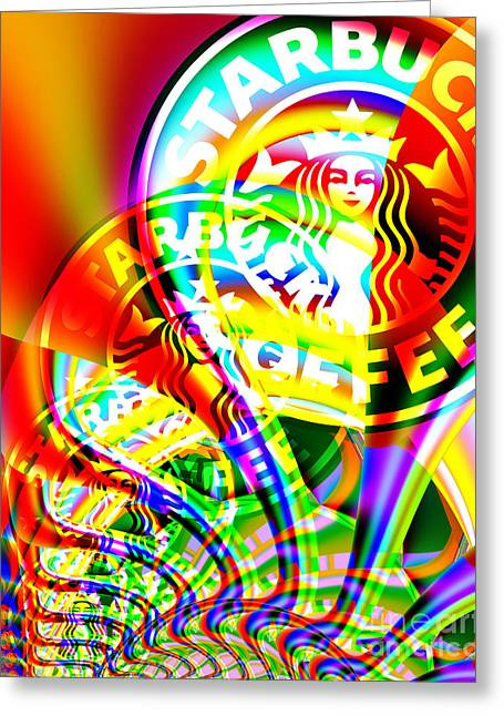 Wing Tong Greeting Cards - Starbucks Coffee In Abstract Greeting Card by Wingsdomain Art and Photography