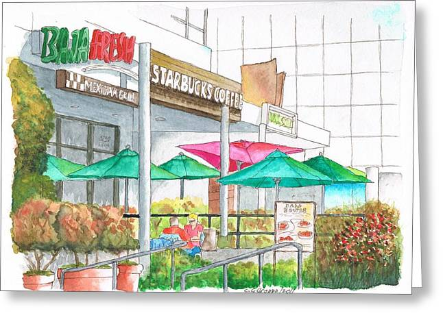 Capuccino Greeting Cards - Starbucks Coffee in Miracle Mile Wilshire Blvd - Los Angeles - California Greeting Card by Carlos G Groppa