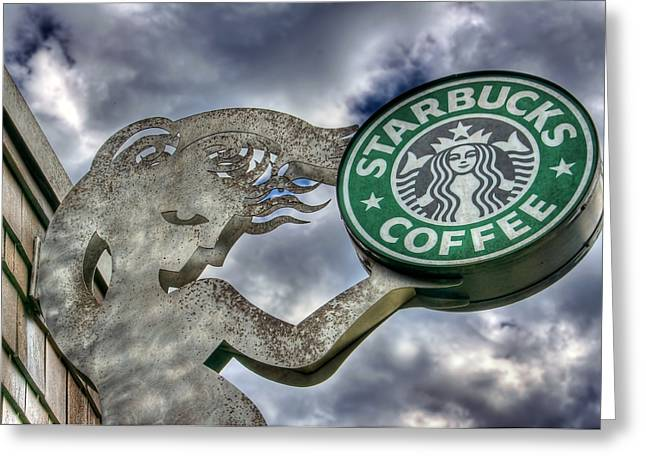Italian Cafe Greeting Cards - Starbucks Coffee Greeting Card by Spencer McDonald
