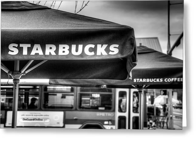 Italian Cafe Greeting Cards - Starbucks Umbrella Greeting Card by Spencer McDonald