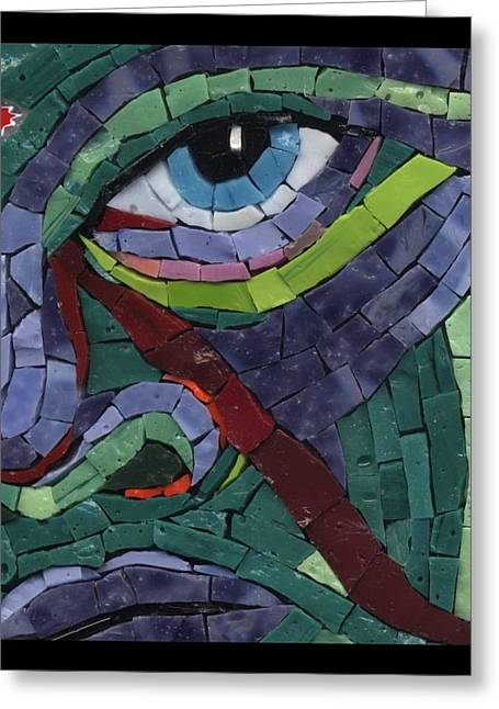 Detail Glass Art Greeting Cards - Stare Down - Fantasy Face No.14 Greeting Card by Gila Rayberg
