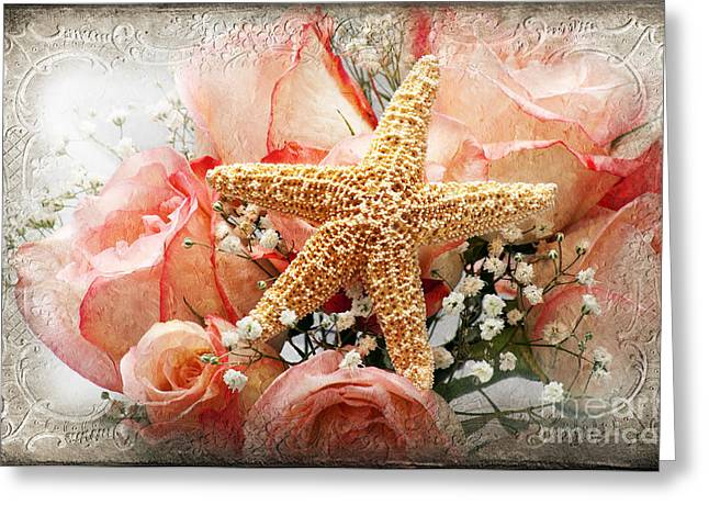 Star Fish Greeting Cards - Starfish And Pink Roses Greeting Card by Andee Design