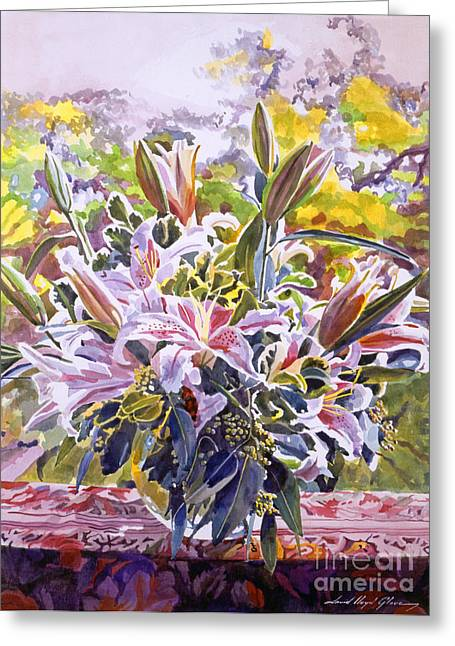 Romantic Floral Greeting Cards - Stargazer Lilies In Glass Bowl Greeting Card by David Lloyd Glover