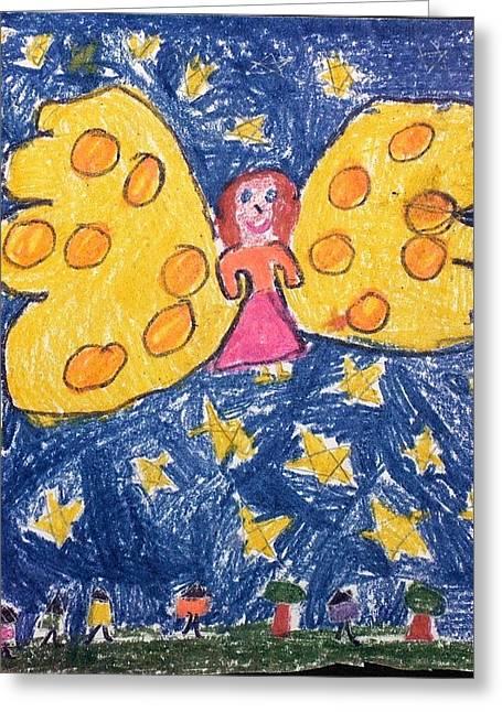 Night Angel Drawings Greeting Cards - Starlight Angel Greeting Card by Susan Olin-Dabrowski