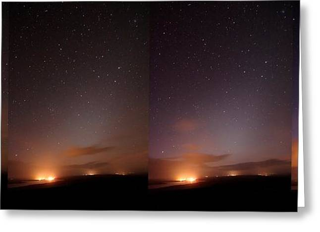 Changing Colour Greeting Cards - Starlight Changes In A Night Sky Greeting Card by Laurent Laveder