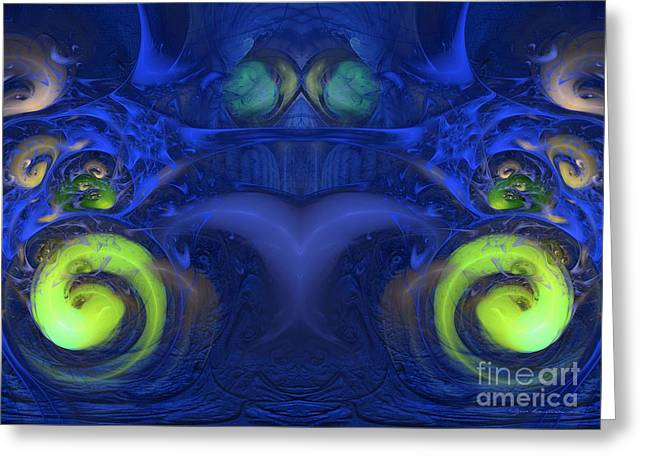 Geometric Image Greeting Cards - Starman - Abstract digital art Greeting Card by Sipo Liimatainen