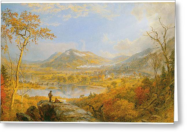 Cropsey Greeting Cards - Starracca Viaduct Greeting Card by Jasper Francis Cropsey