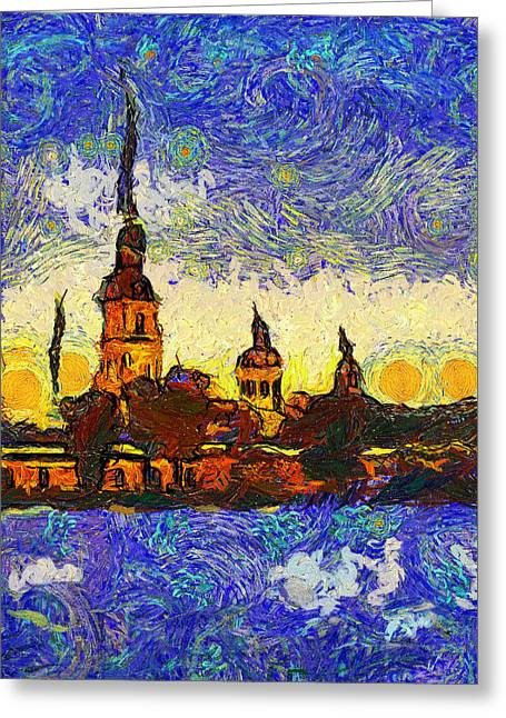 Urban Nature Study Greeting Cards - Starred Saint Petersburg Greeting Card by Yury Malkov