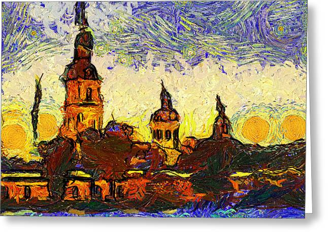 Starred Saint Petersburg Greeting Card by Yury Malkov