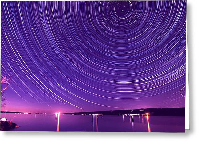 Taughannock Falls State Park Greeting Cards - Starry night of Cayuga Lake Greeting Card by Paul Ge