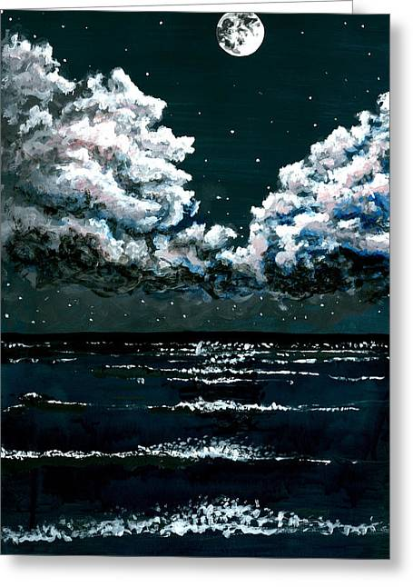 Stary Sky Greeting Cards - Starry Night Seascape Greeting Card by Kyle Gray