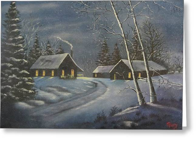 Moonglow Greeting Cards - Starry Night Greeting Card by Terry Boulerice
