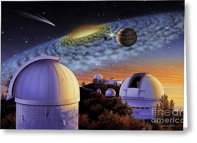 Planetary System Paintings Greeting Cards - Starry Nights at Lick Greeting Card by Lynette Cook