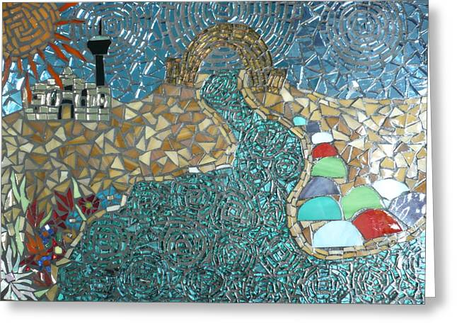Universities Glass Art Greeting Cards - Starry Riverwalk Greeting Card by Ann Salas
