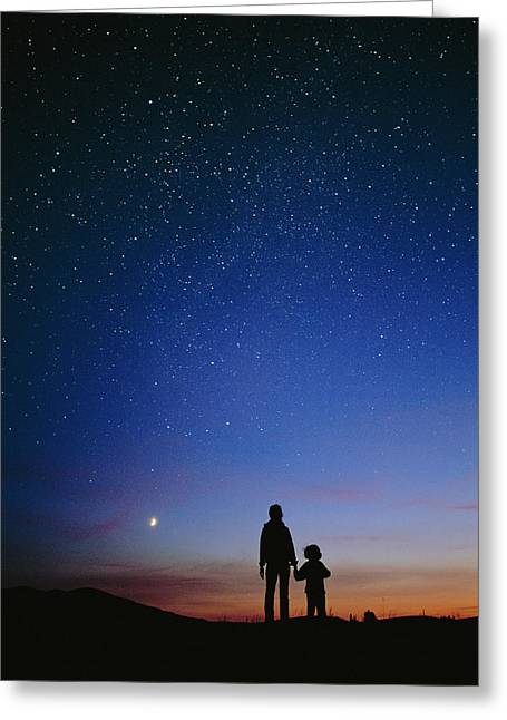 Amateur Greeting Cards - Starry Sky And Stargazers Greeting Card by David Nunuk