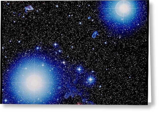 Orionis Greeting Cards - Stars Alnilam & Mintaka In Orion Greeting Card by Celestial Image Picture Co.