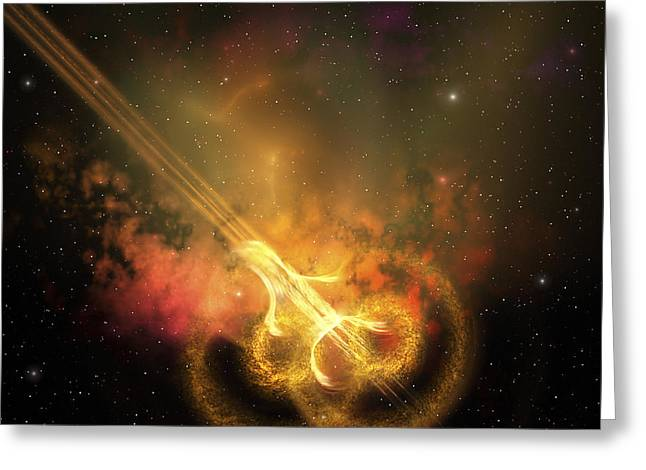 Cosmic Collision Greeting Cards - Stars And Gases Collide To Form This Greeting Card by Corey Ford
