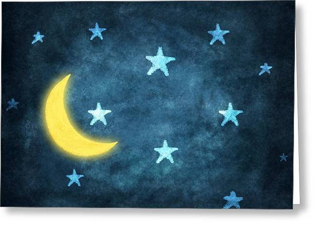 Star Greeting Cards - Stars And Moon Drawing With Chalk Greeting Card by Setsiri Silapasuwanchai
