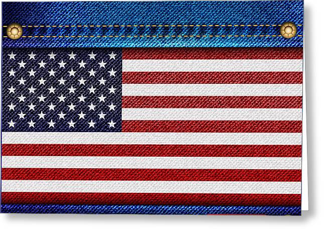 Label Photographs Greeting Cards - Stars and Stripes denim Greeting Card by Jane Rix