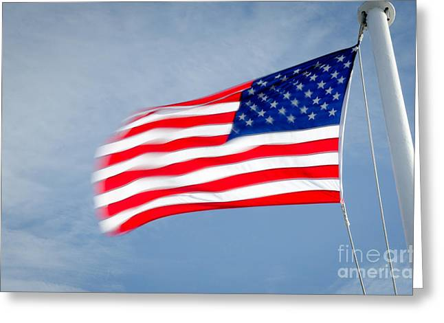 Stars And Stripes Greeting Cards - STARS AND STRIPES flagpole and waving USA flag Greeting Card by Andy Smy
