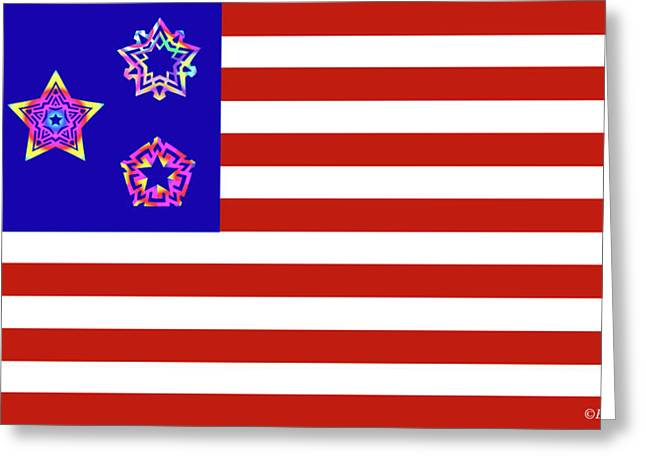 Independence Day Mixed Media Greeting Cards - Stars and Stripes of RetroCollage Greeting Card by Eric Edelman