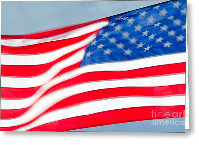 Waves Greeting Cards - STARS AND STRIPES waving USA flag in a strong wind Greeting Card by Andy Smy