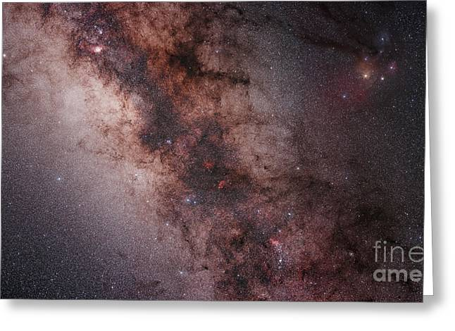 Interstellar Space Photographs Greeting Cards - Stars, Nebulae And Dust Clouds Greeting Card by Philip Hart
