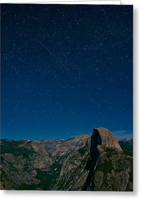 Star Valley Greeting Cards - Stars Over Half Dome Greeting Card by Adam Pender