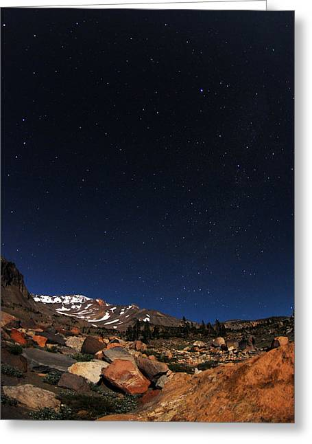 Mt. Shasta Greeting Cards - Stars Over Mt. Shasta Greeting Card by Tom Melo