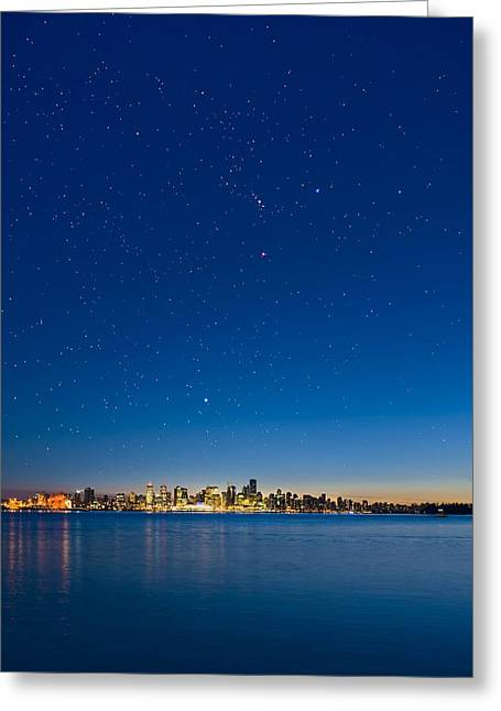 North Vancouver Greeting Cards - Stars Over Vancouver, Canada Greeting Card by David Nunuk