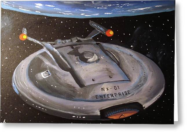 Starship Paintings Greeting Cards - Starship Enterprise Greeting Card by Rita Tortorelli