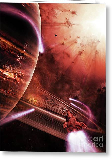 Journeys End Greeting Cards - Starships Hone Their Skills Greeting Card by Brian Christensen